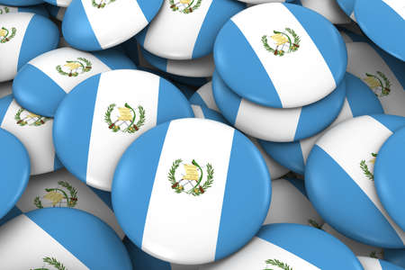 guatemalan: Guatemala Badges Background - Pile of Guatemalan Flag Buttons 3D Illustration Stock Photo