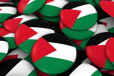 Palestine Badges Background - Pile of Palestinian Flag Buttons 3D Illustration Stock Photo