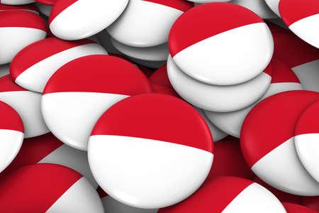 Monaco  Indonesia Badges Background - Pile of Monegasque  Indonesian Flag Buttons 3D Illustration