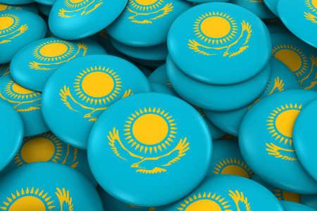 discs: Kazakhstan Badges Background - Pile of Kazakhstani Flag Buttons 3D Illustration Stock Photo