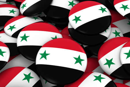 discs: Syria Badges Background - Pile of Syrian Flag Buttons 3D Illustration Stock Photo