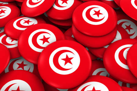 Tunisia Badges Background - Pile of Tunisian Flag Buttons 3D Illustration Stock Photo