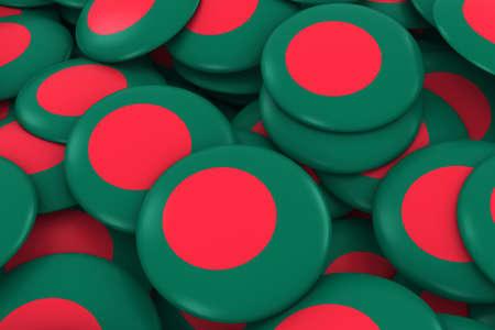 discs: Bangladesh Badges Background - Pile of Bangladeshi Flag Buttons 3D Illustration Stock Photo