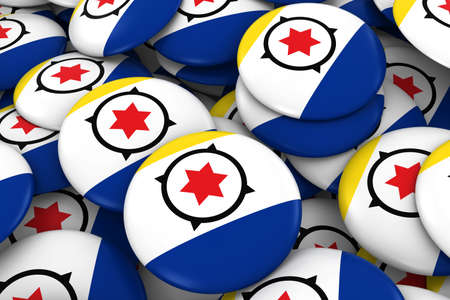 bonaire: Bonaire Badges Background - Pile of Bonaire Flag Buttons 3D Illustration