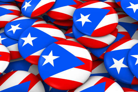 Puerto Rico Badges Background - Pile of Puerto Rican Flag Buttons 3D Illustration Stock Photo
