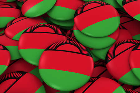 malawian flag: Malawi Badges Background - Pile of Malawian Flag Buttons 3D Illustration