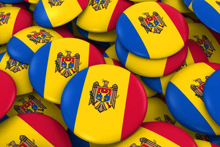 moldovan: Moldova Badges Background - Pile of Moldovan Flag Buttons 3D Illustration Stock Photo