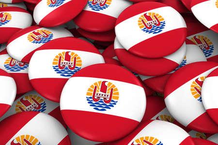 tahiti: Tahiti Badges Background - Pile of Tahiti Flag Buttons 3D Illustration Stock Photo