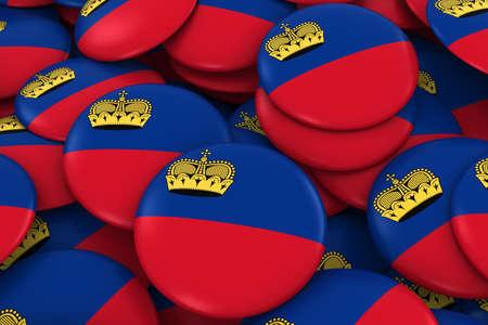 discs: Liechtenstein Badges Background - Pile of Liechtenstein Flag Buttons 3D Illustration