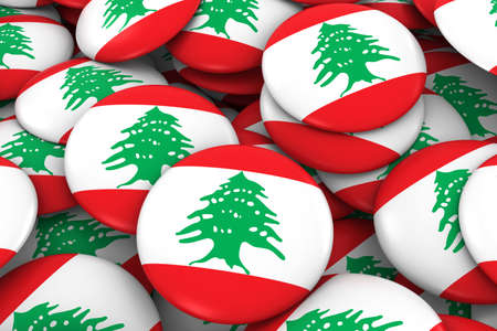 lebanese: Lebanon Badges Background - Pile of Lebanese Flag Buttons 3D Illustration Stock Photo