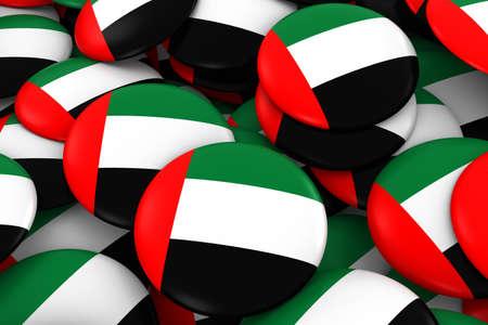 discs: United Arab Emirates Badges Background - Pile of Emirati Flag Buttons 3D Illustration Stock Photo