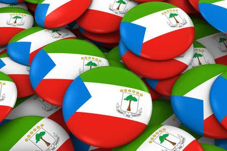 Equatorial Guinea Badges Background - Pile of Equatorial Guinean Flag Buttons 3D Illustration