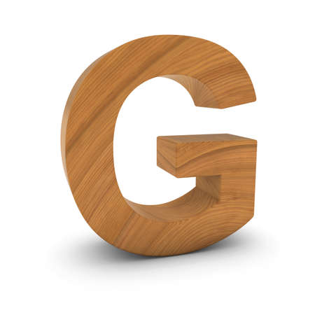 wood carving 3d: Wooden Letter G Isolated on White with Shadows 3D Illustration Stock Photo
