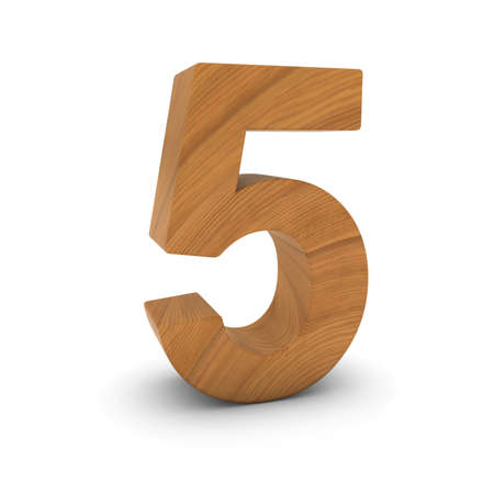 Wooden Number Five Isolated on White with Shadows 3D Illustration Stock fotó
