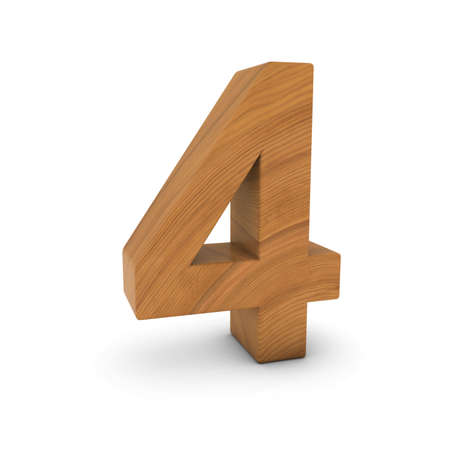 Wooden Number Four Isolated on White with Shadows 3D Illustration Stock fotó