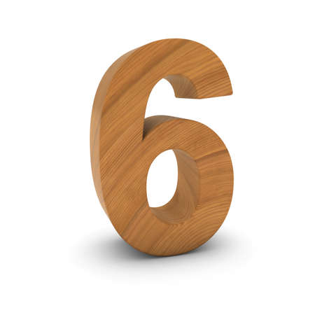 Wooden Number Six Isolated on White with Shadows 3D Illustration