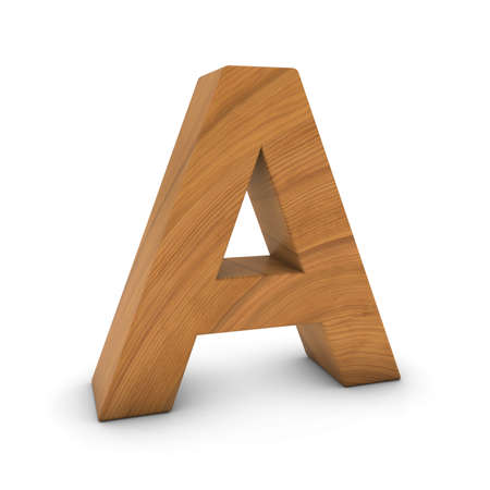 Wooden Letter A Isolated on White with Shadows 3D Illustration