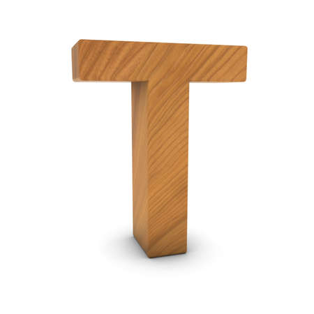 wood carving 3d: Wooden Letter T Isolated on White with Shadows 3D Illustration