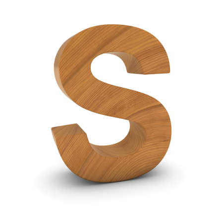 Wooden Letter S Isolated on White with Shadows 3D Illustration Stock fotó