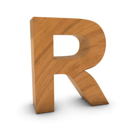 wood carving 3d: Wooden Letter R Isolated on White with Shadows 3D Illustration