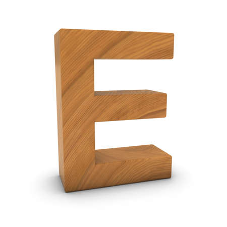 wood carving 3d: Wooden Letter E Isolated on White with Shadows 3D Illustration Stock Photo