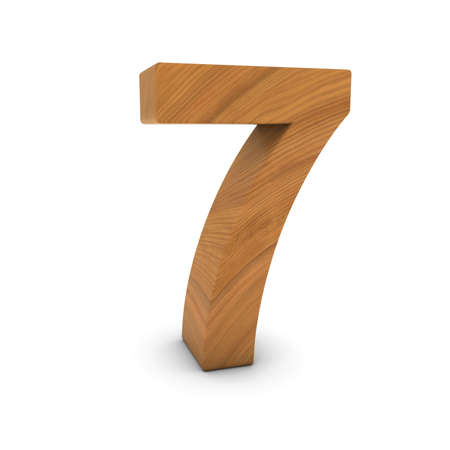 number seven: Wooden Number Seven Isolated on White with Shadows 3D Illustration Stock Photo