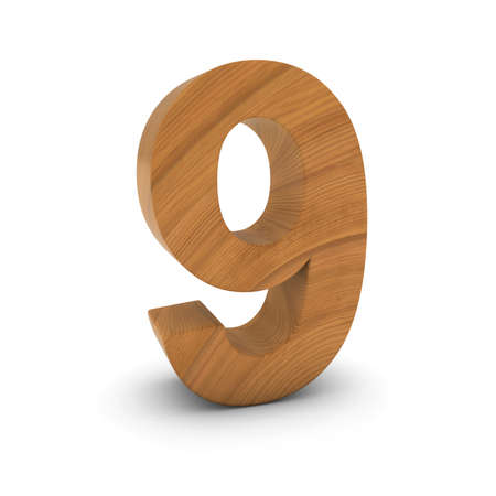 numero nueve: Wooden Number Nine Isolated on White with Shadows 3D Illustration Foto de archivo