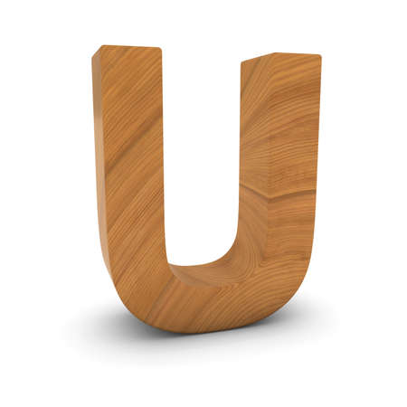 Wooden Letter U Isolated on White with Shadows 3D Illustration Stock fotó