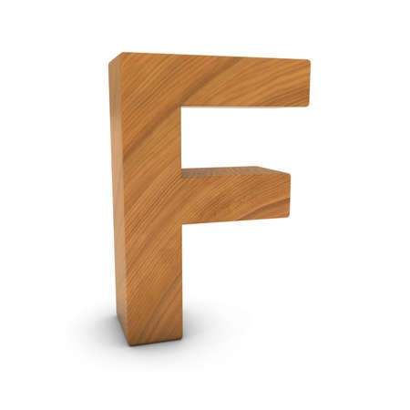wood carving 3d: Wooden Letter F Isolated on White with Shadows 3D Illustration