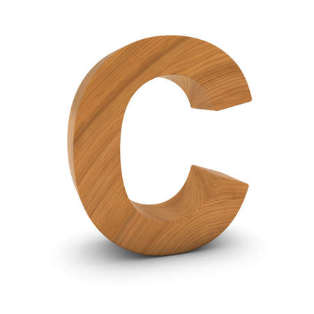 wood carving 3d: Wooden Letter C Isolated on White with Shadows 3D Illustration Stock Photo