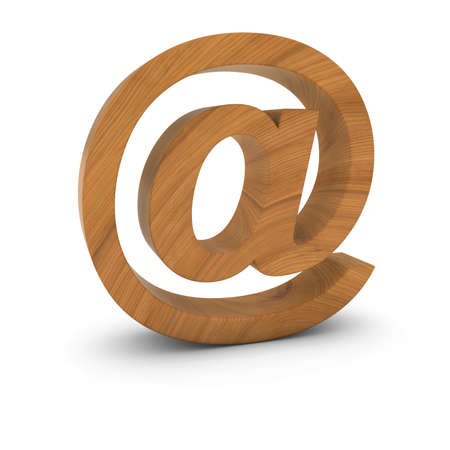 email symbol: Wooden Email Symbol Isolated on White with Shadows 3D Illustration Stock Photo