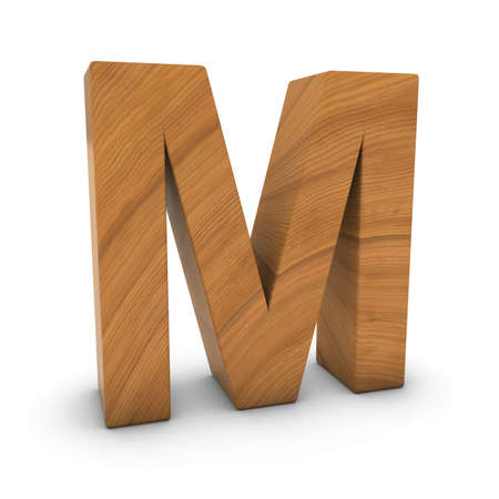 wood carving 3d: Wooden Letter M Isolated on White with Shadows 3D Illustration