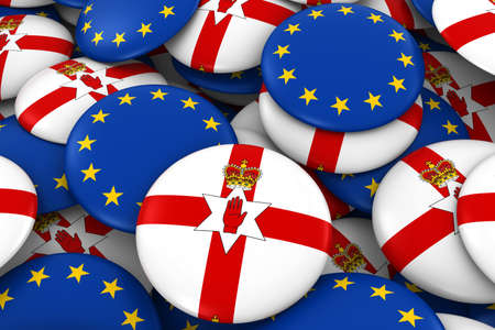 ulster: Northern Ireland and Europe Badges Background - Pile of Northern Irish Ulster and European Flag Buttons 3D Illustration Stock Photo