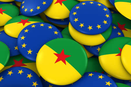 french guiana: French Guiana and Europe Badges Background - Pile of French Guianese and European Flag Buttons 3D Illustration Stock Photo
