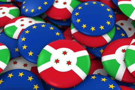 Burundi and Europe Badges Background - Pile of Burundian and European Flag Buttons 3D Illustration