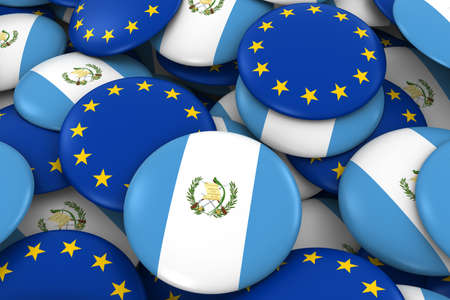 guatemalan: Guatemala and Europe Badges Background - Pile of Guatemalan and European Flag Buttons 3D Illustration
