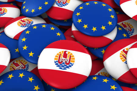 tahiti: Tahiti and Europe Badges Background - Pile of Tahiti and European Flag Buttons 3D Illustration