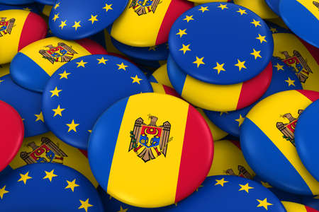 moldovan: Moldova and Europe Badges Background - Pile of Moldovan and European Flag Buttons 3D Illustration Stock Photo