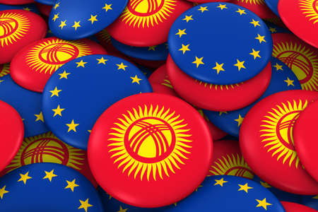 Kyrgyzstan and Europe Badges Background - Pile of Kyrgyzstani and European Flag Buttons 3D Illustration Stock Photo