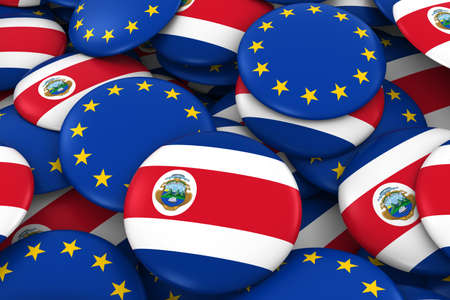 Costa Rica and Europe Badges Background - Pile of Costa Rican and European Flag Buttons 3D Illustration Stock Photo