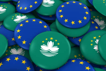 macau: Macau and Europe Badges Background - Pile of Macanese and European Flag Buttons 3D Illustration
