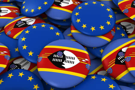 Swaziland and Europe Badges Background - Pile of Swazi and European Flag Buttons 3D Illustration