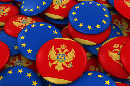 Montenegro and Europe Badges Background - Pile of Montenegrin and European Flag Buttons 3D Illustration Stock Photo