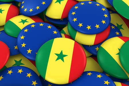 senegalese: Senegal and Europe Badges Background - Pile of Senegalese and European Flag Buttons 3D Illustration Stock Photo
