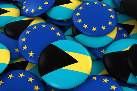 bahamian: Bahamas and Europe Badges Background - Pile of Bahamian and European Flag Buttons 3D Illustration Stock Photo