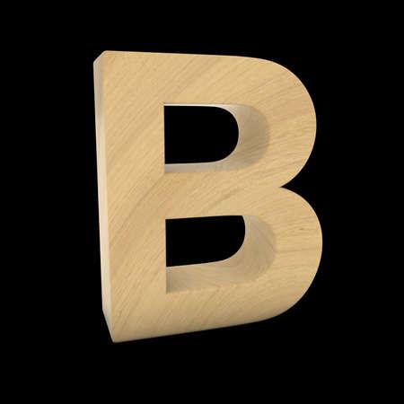 Wooden Letter B Isolated on Black 3D Illustration Stock fotó
