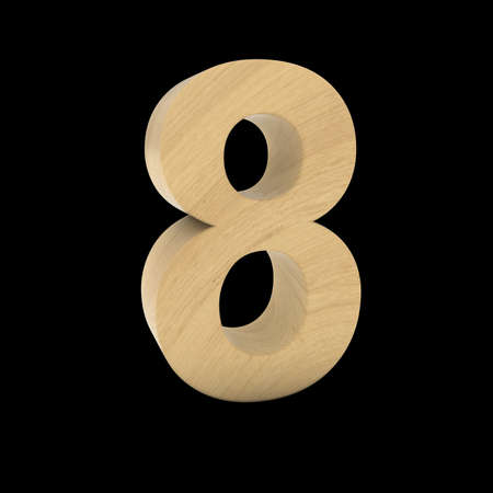Wooden Number Eight Isolated on Black 3D Illustration Stock fotó