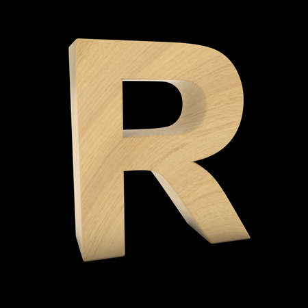 wood carving 3d: Wooden Letter R Isolated on Black 3D Illustration Stock Photo