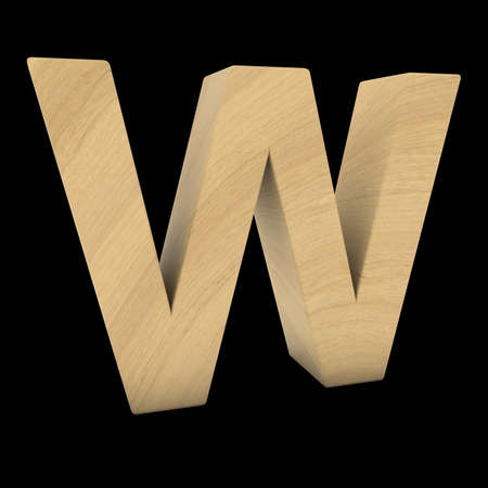 Wooden Letter W Isolated on Black 3D Illustration