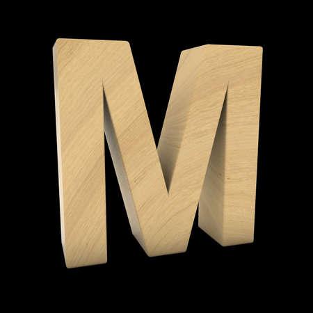 Wooden Letter M Isolated on Black 3D Illustration